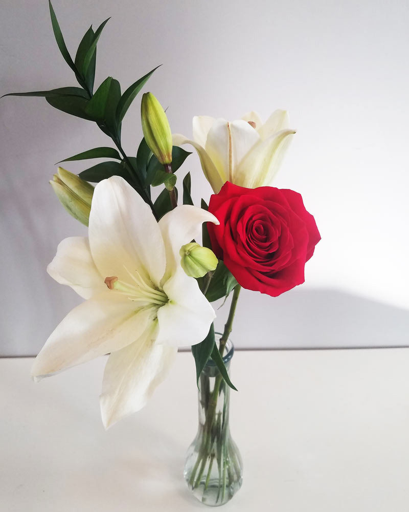 cheap Christmas flower arrangement with white lilies and one red rose in a red vase